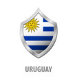 uruguay flag on metal shiny shield vector image