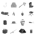 Fishing icons set black monochrome style vector image