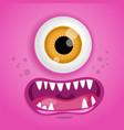 cartoon monster face halloween pink vector image