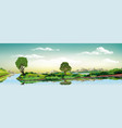 Panorama of nature - green island on the lake vector image