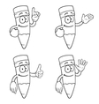 Black and white smiling cartoon pencils set vector image vector image