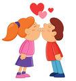 Boy and girl kissing vector image