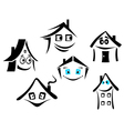 set of smiling houses vector image vector image