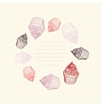 Circular pattern of cupcakes with chalks Sketches vector image