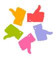 Colorful circle thumb up icons vector image