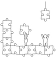 Doodle manikins make puzzle vector image