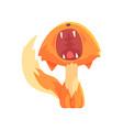 funny red kitten yawning cute cartoon animal vector image