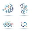 Hexagonal abstract icons business and communicatio vector image
