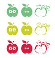 set of half apples vector image