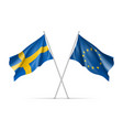 sweden and european union waving flags vector image