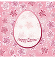 Gentle pink floral greeting frame Happy Easter vector image