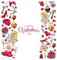 Seamless vertical borders with sketch Valentines vector image