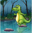 A crocodile crossing the pond vector image