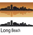 Long Beach skyline in orange background vector image vector image