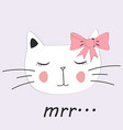 cute cat little kitty with glasses bow vector image