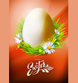 Easter egg poster on orange vector image