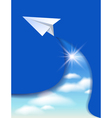Flyer template with paper airplane vector image
