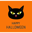 Black cat head Yellow eyes fangs Happy Halloween vector image