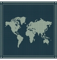 Dotted world map over blueprint background vector image