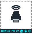 Printer with wi-fi connection icon flat vector image