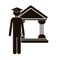 Black silhouette lawyer with graduation hat vector image