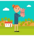 Woman Holds Pig in Hand Country Farm on Background vector image