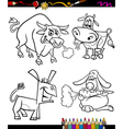 farm animals set cartoon coloring book vector image vector image