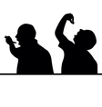man eat silhouette vector image