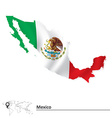 Map of Mexico with flag vector image vector image