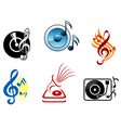 musical icons and symbols vector image vector image