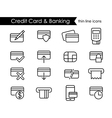 Credit card and e-commerce thin line icon set vector image