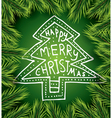Christmas card with white tree on green background vector image