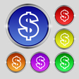 Dollar icon sign Round symbol on bright colourful vector image