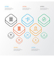 exploration outline icons set collection of earth vector image