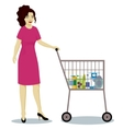 Girl with supermarket trolley full vector image