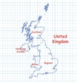 Map of UK United Kingdom drawn with blue pen vector image