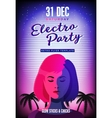 Electro party poster Retro 80s neon background vector image