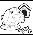 Cute dog with dog house and bones vector image