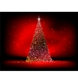 Abstract golden christmas tree on red EPS 10 vector image vector image