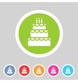 Birthday cake flat icon sign symbol logo label set vector image