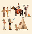 american indians icons set vector image