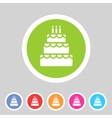 Birthday cake flat icon sign symbol logo label set vector image