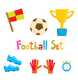 cartoon football icon set soccer vector image