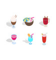 cocktail icon set isometric style vector image