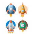 four rockets colorful flat poster isolated vector image