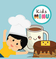 kids menu card fresh delicious vector image
