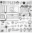 Navigation hand drawn doodles vector image