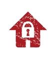 Red grunge lock house logo vector image