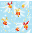 Blue Christmas background with Christmas balls vector image vector image