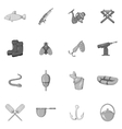 Fishing icons set black monochrome style vector image